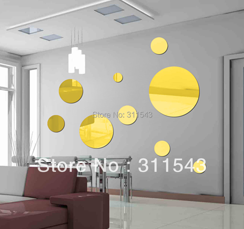 8pcs large round mirror wall stickers for living room wall decor ...