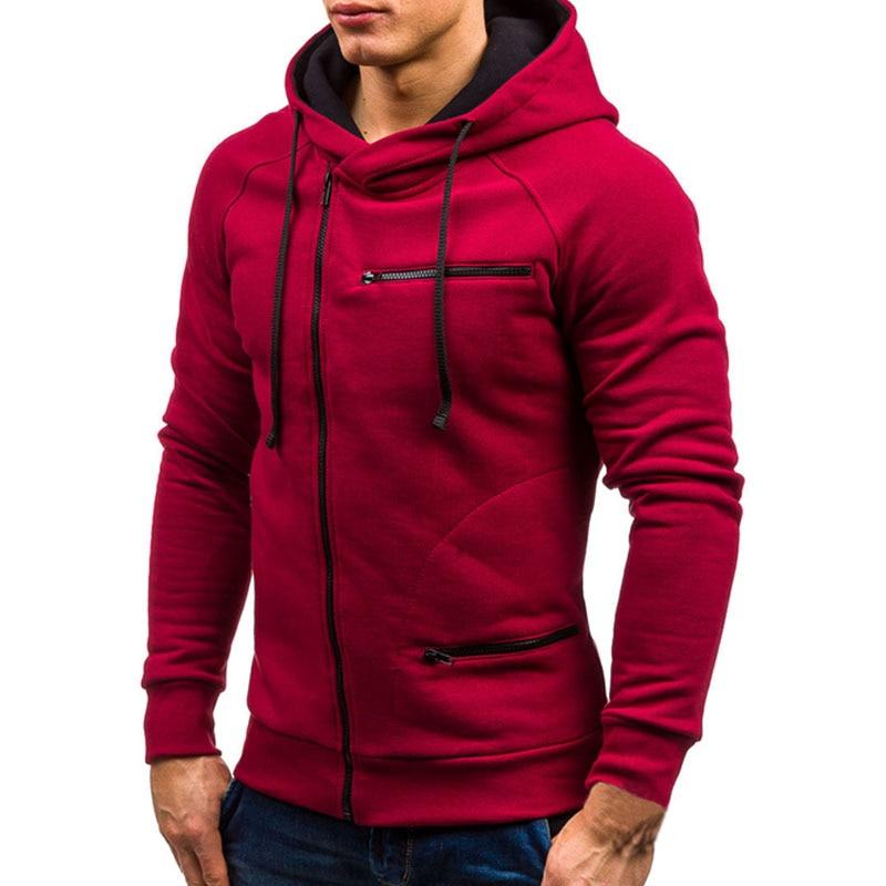 2020 Men Hoodie Sweatshirt New Casual Solid Long Sleeve Mens Hoodies Slim Zipper Hooded Cardigan Sweatshirts Men Hoody Sweat Homme 4