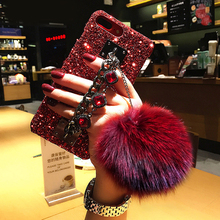 Luxury Glitter Bling Diamond Gem Bracelet Chain Strap Cases Fur Ball Cover For iPhone 11 Pro