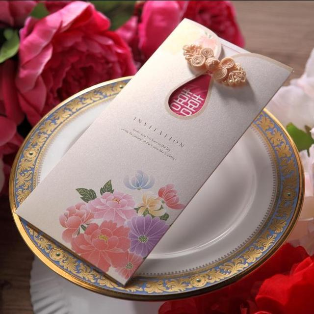 CW2053 flower Chinese Wedding Invitation Card with Cheongsam buckle