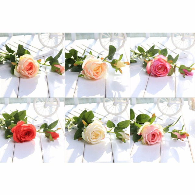 1Pc 2 Rose Flowers Artficial Happy Birthday Girls Party Anniversary Roses DIY Arrangement Decoration Wedding Decorative