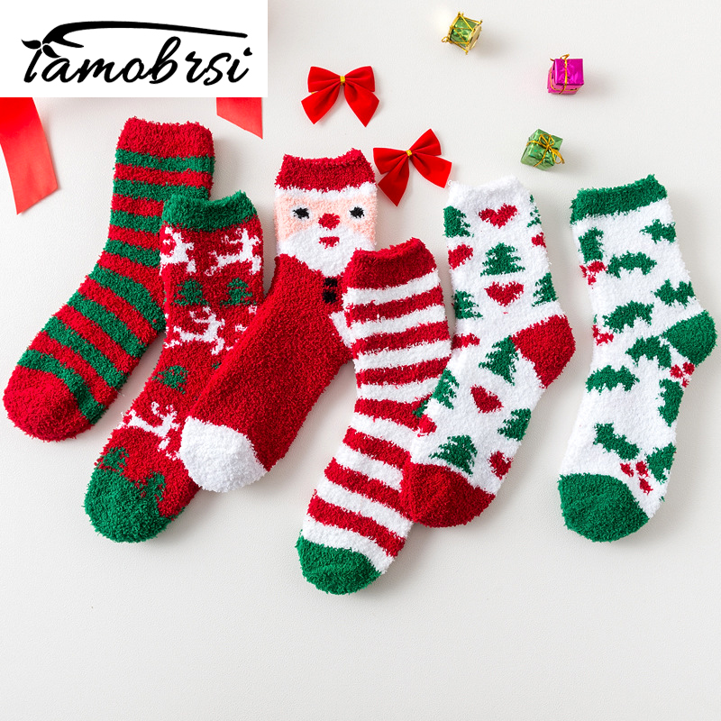 Happy New Year Socks Christmas Santa Claus Moose Tree Pattern Winter Warm Style Socks Short Funny Cotton Women Men Unisex Socks