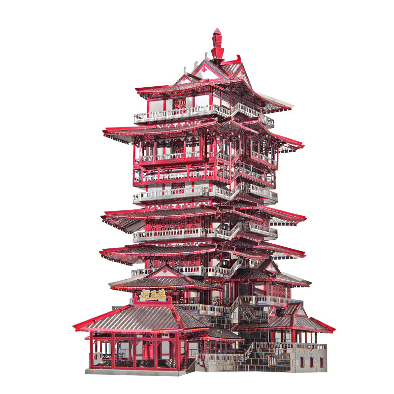 Piececool Yuewang Tower Architecture DIY 3d Metal Nano Puzzle Assemble Model Kits P089-RKS Laser Cut Jigsaw Toys цена