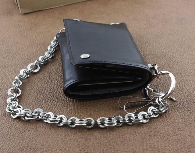 Leather Biker Wallet w/ Metal Ring Key Chain 6