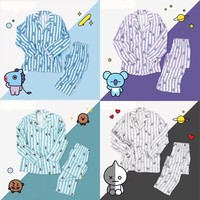 Kpop Suga Home For Bangtan Boys Cartoon Version V Suga Same Harajuku Pajamas Long Sleeve Shirt Nighty Men Women Bedgown
