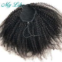 MY Like Afro Kinky Curly Human Hair Ponytail Clips in for Women Bun Drawstring Brazilian Remy Hair Extension Natural Black