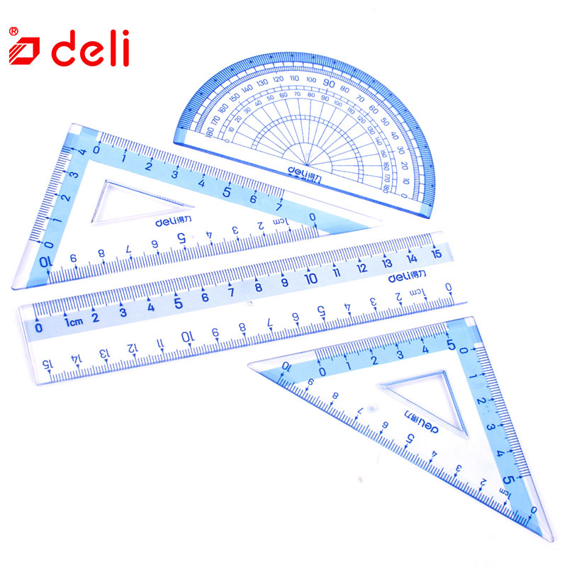 Deli 1 Pack 4Pcs Ruler Set Blue Transparent Soft Plastic Flexional Straight Triangular Ruler Students Stationery School Supplies
