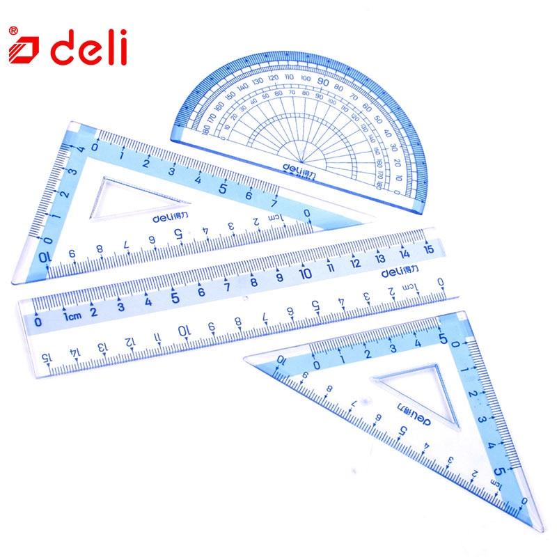 Deli 1 Pack 4Pcs Ruler Set Blue Transparent Soft Plastic Flexional Straight Triangular Ruler Students Stationery School Supplies