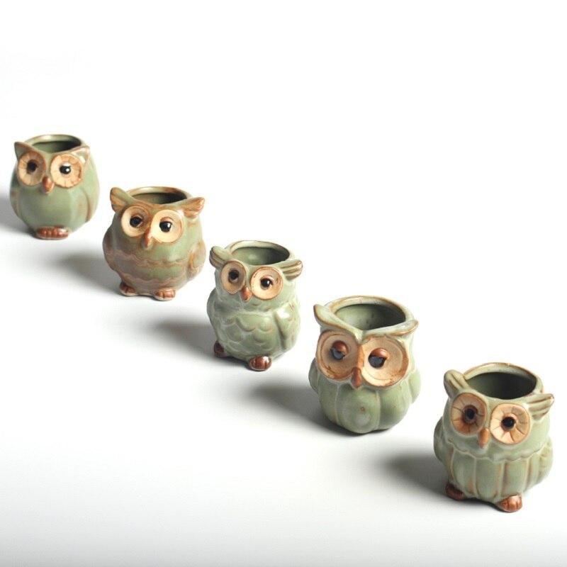 5 Pcs/Set Creative Ceramic Owl Shape Flower Pots For Fleshy Succulent Plant Animal Style Planter Home Garden Office Decoration