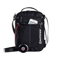 Швейцарская сумка через плечо, удобный портфель, маленькая сумка мессенджер для планшетов и документов 9,7 дюйма, Мужская черная сумка через плечо