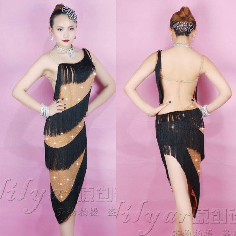 Latin Dance Dress For Women Skin Color Classical Falda Flecos Fringe Dress Stage Dance Costume Competition Latin Dresses VDB148