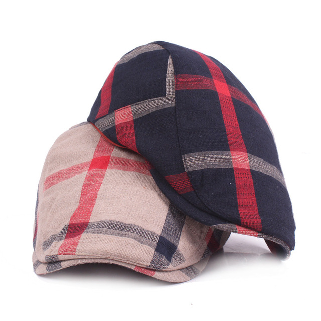 Hat Wholesale Men and Women Plaid Fabric Simple Retro Tourism Forward Hat  Ladies Newsboy Hats LU0362 2ed82db51ee