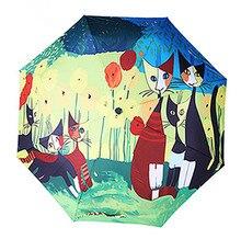 Heißer Verkauf Der Berühmten Italienischen Maler Rosina Öle Meow Sterne Menschen UV Sonnenschirm Hochwertige Dicker Karambol Tuch Bumbershoot