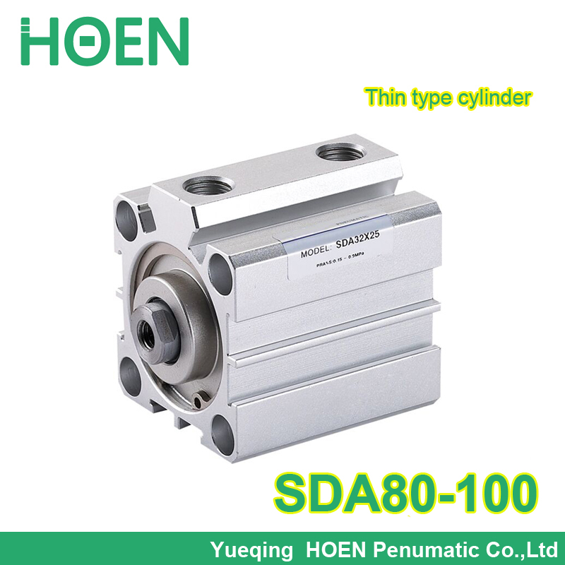 SDA80-100 Airtac type SDA series Pneumatic Air Compact Cylinder 80mm Bore 100mm Stroke SDA80*100 high quality double acting pneumatic gripper mhy2 25d smc type 180 degree angular style air cylinder aluminium clamps