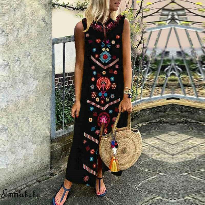 Nuevo estilo de las mujeres vestido suelto Casual diseño misterioso impresa señoras de algodón Casual ropa de Maxi vestido de talla grande