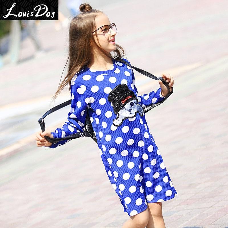ФОТО LouisDog girl dress chidren's cute long sleeve knee-length polka dot kitty causal dresses for Spring Summer size 6-16yrs