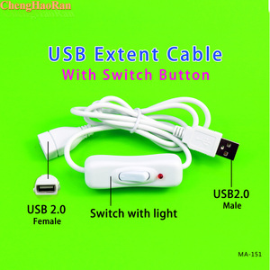 Image 2 - ChengHaoRan 1m With Light USB Cable Male to Female with Switch ON/OFF Cable Extension Toggle for USB Lamp USB Fan Power Line