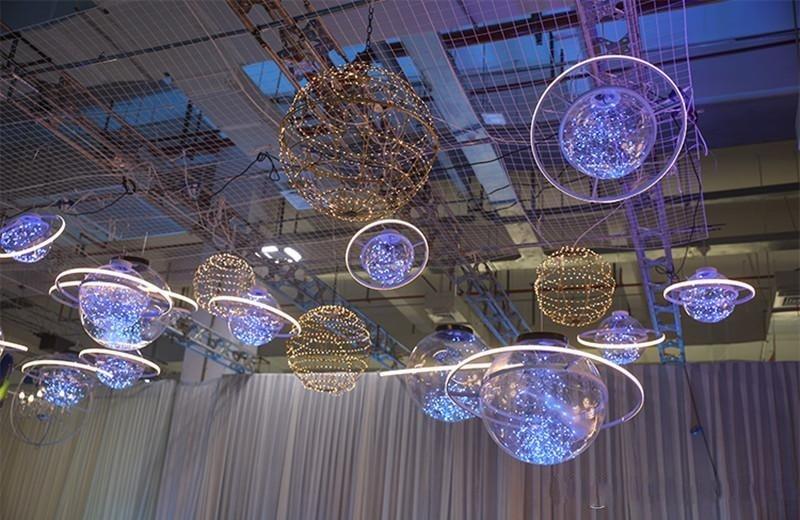 New Arrival Shine LED Flash Star Ball Wedding Showcase Decoration Space Planet Hanging Ornament Chandelier 25cm 30cm 40cm - 4