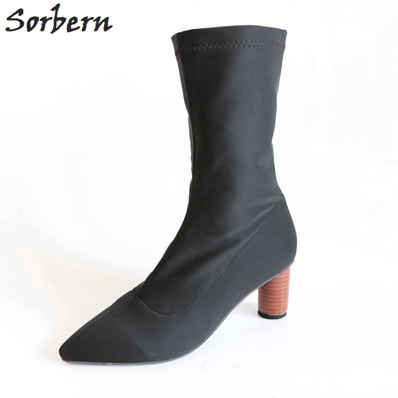 Sorbern Sexy Stretch Boots For Women Round Med Heel Pointed Toe Miid Calf Women Boots Block Heels Autumn Women Shoes Multi Color sexy style bowknot embellished color block women s briefs