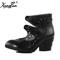 Xiangban Spring Summer 2018 Shoes Women Gladiator Sandals Boots Hollow Hole High Heel Summer Boots Black