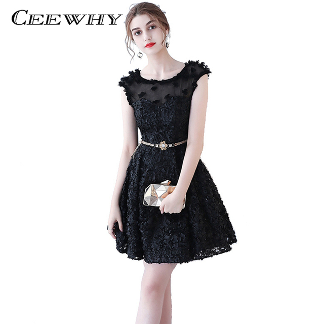 Ceewhy Appliques A Line Formal Party Dress Luxury Little Black Dress