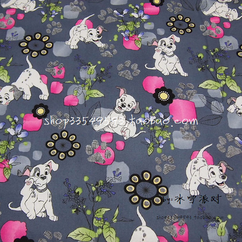 140*50cm 1pcs Fabric Dog 100%Cotton Fabric Telas Patchwork Grey Dogs&flower Printed Fabric Sewing Material DIY Baby Clothing|fabric dog|printed fabric|telas patchwork - title=