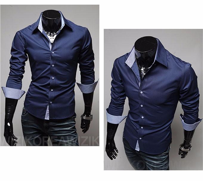 Mens Casual Shirts 2016 Hot Sale Mens Slim Fit Dress Long Sleeve Shirts Soild Male Social Shirts Designer Chemise Homme 3XL 25 5