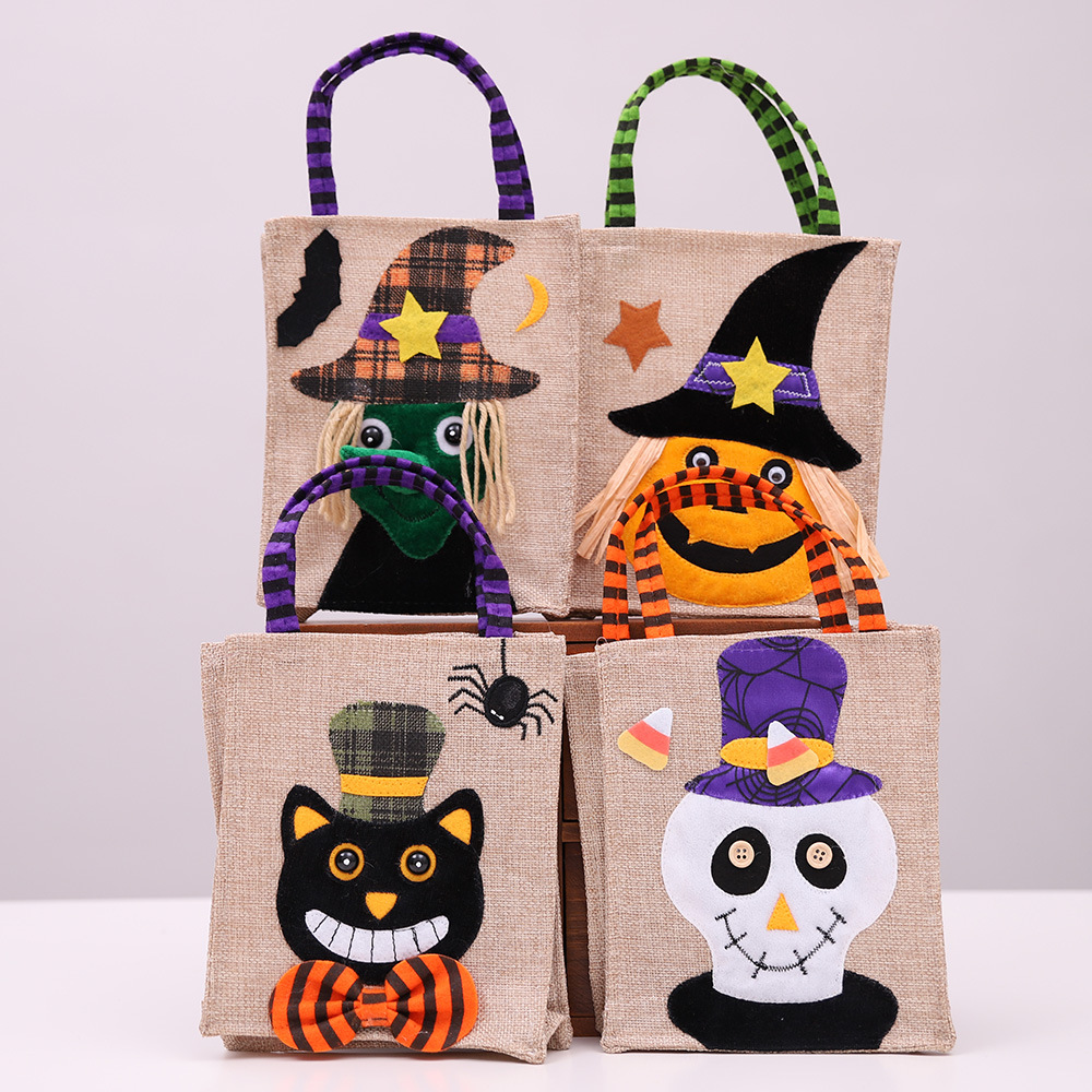 Halloween Linen candy Bag Tote bag gift box Package Halloween decoration props Supplies thank you Gift birthday Party Favor Bags