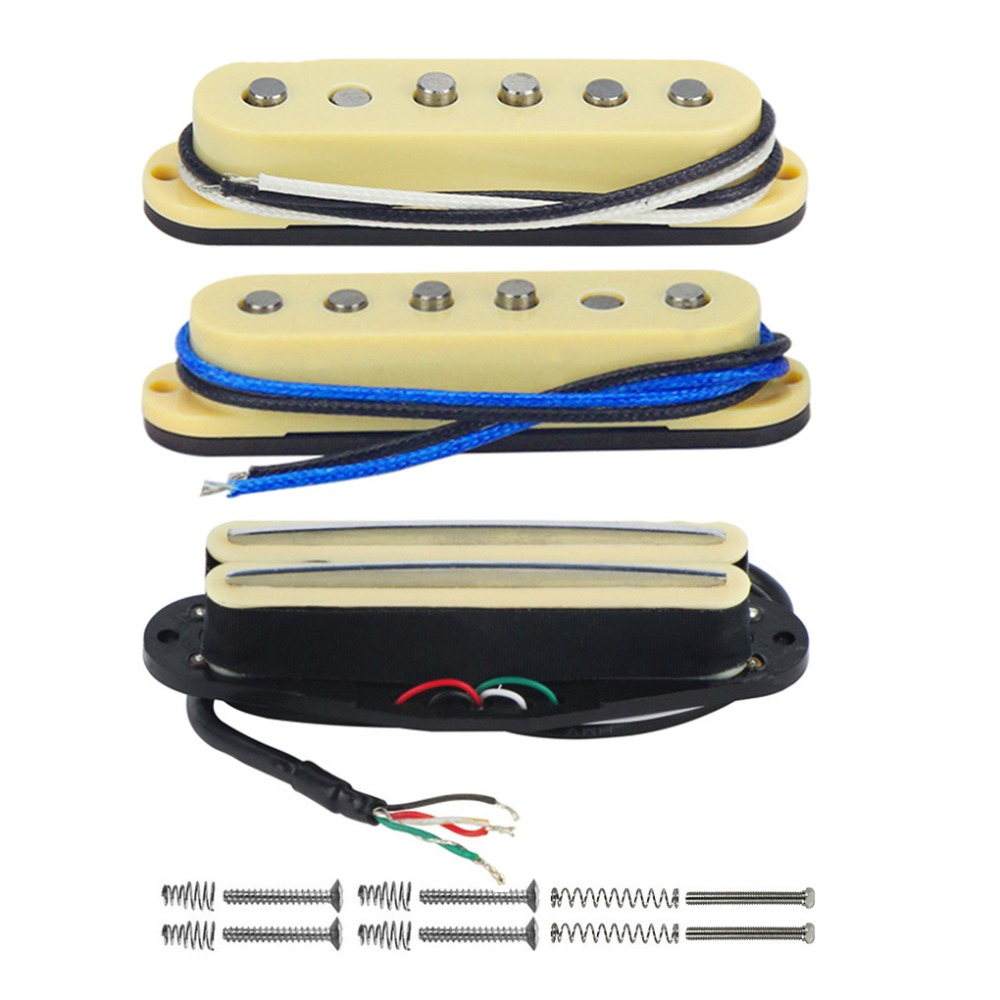 FLEOR 3pcs Set Staggered Pole Alnico 5 Guitar Single Coil Dual Hot Rail Humbucker Pickup for