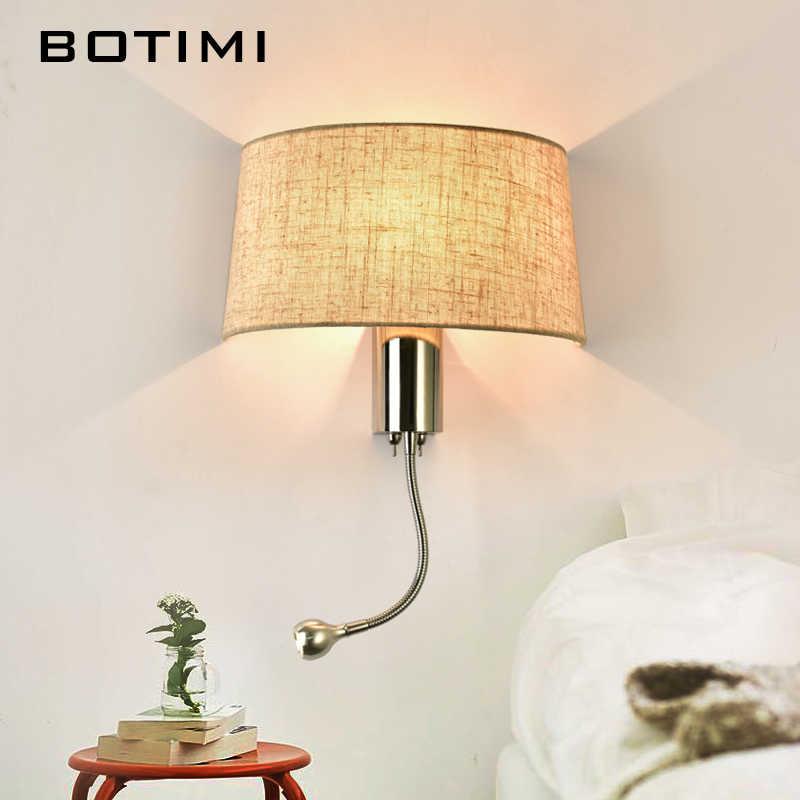 Botimi современные светодиодный настенный светильник с тканевым абажуром для спальни прикроватная аппликация murale светильник светодиодный теплый свет Настенный бра