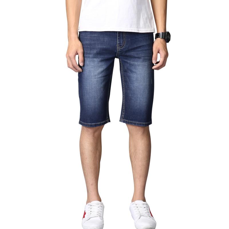 2017 Men Denim Summer Shorts Stretch Slim Fit Knee Length Jeans Designer Cotton Casual Shorts