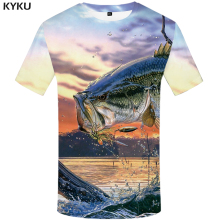 KYKU Carp T-shirt Men Tropical Digital Fish 3d T Shirt Animal Printed Tshirt Nebula Summer Mens Clothing Short Sleeve O-neck New