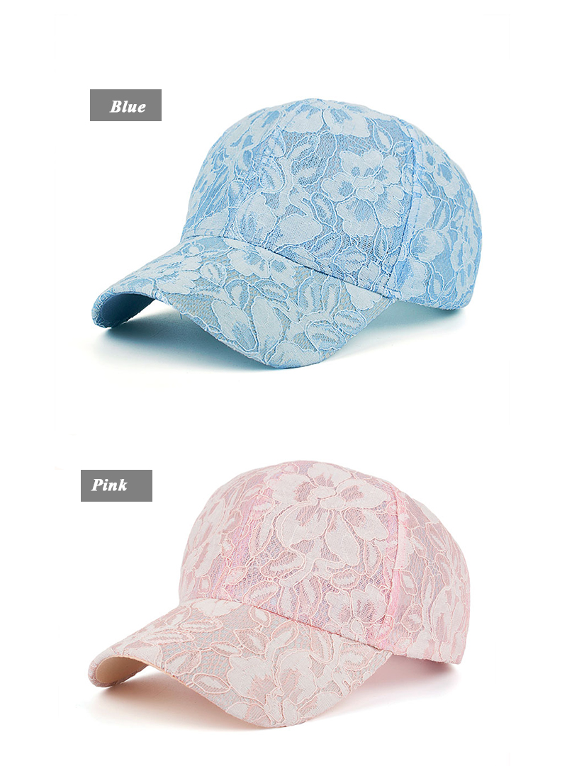 Floral Lace Over Denim Snapback Cap - Blue Cap and Pink Cap Side Angle Views