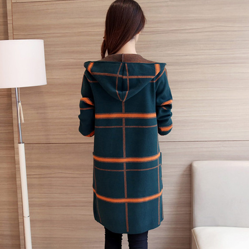 New 2018 Autumn Winter women Hooded Knitted Sweater Cardigan winter plaid Jacket Loose Long Sweaters coat RE0799