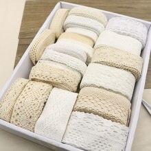Fita bege branca de algodão crochetada 10y, laço, scrapbook, noiva, artesanato, roupa, costura, tecido Trims3-5CM