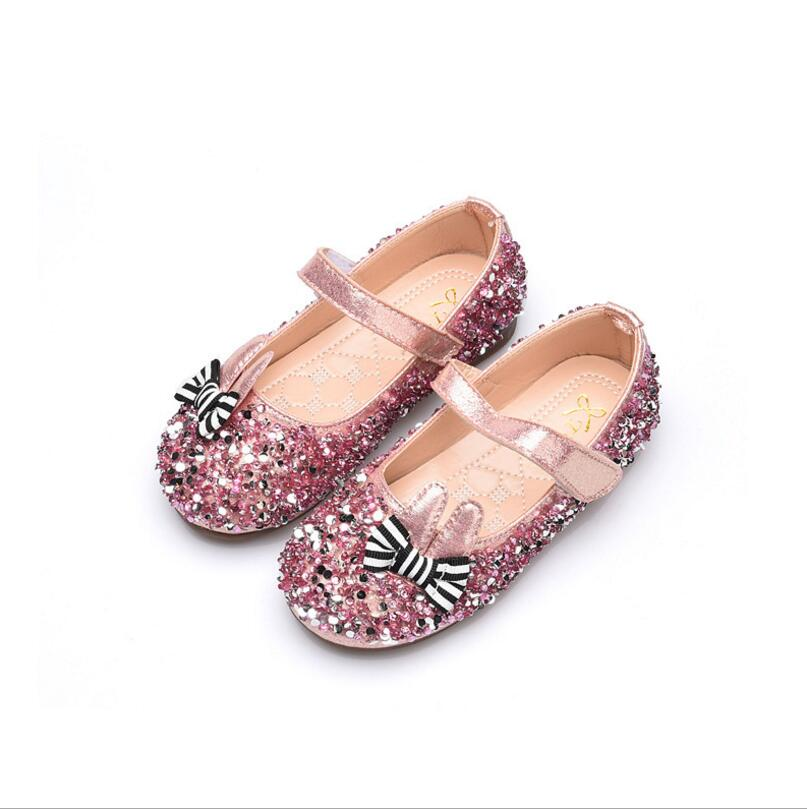 1 2 3 4 5 6 Old Years 2018 New Spring Autumn Princess Diamond Flats Shoes For Girls Kids Baby Wedding Party Flats Shoes Superior Performance