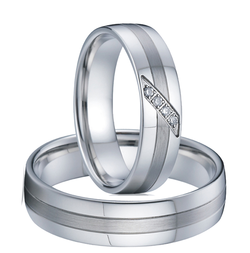 1 pair male female love silver white gold color western titanium couple engagement wedding band rings