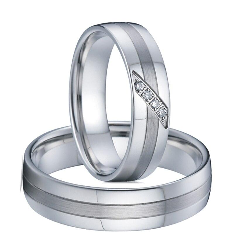 Prix pour 1 Paire mâle femelle amour argent or blanc couleur western titane couple engagement wedding band anneaux ensembles pour hommes et femmes