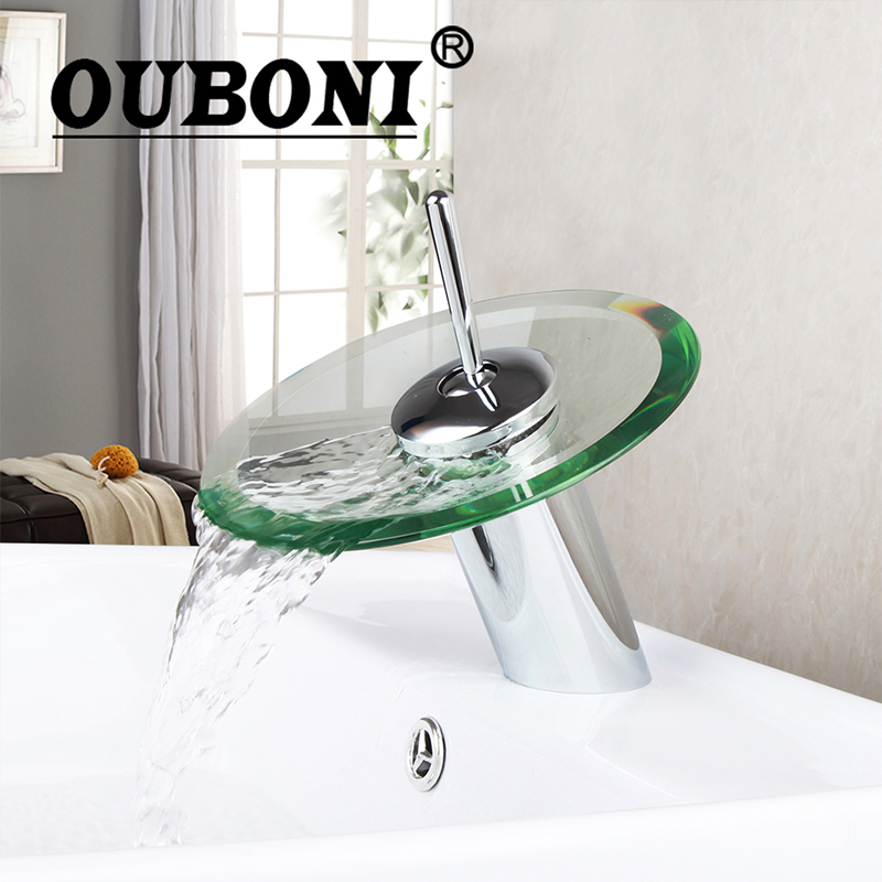 RU Bathroom Waterfall Faucet Glass Waterfall Brass Basin Faucet Bathroom Mixer Tap Deck Mounted basin sink Mixer Tap Water Mixer fapully bathroom waterfall basin faucet deck mounted automatic hands touch sensor water faucet waterfall sink tap
