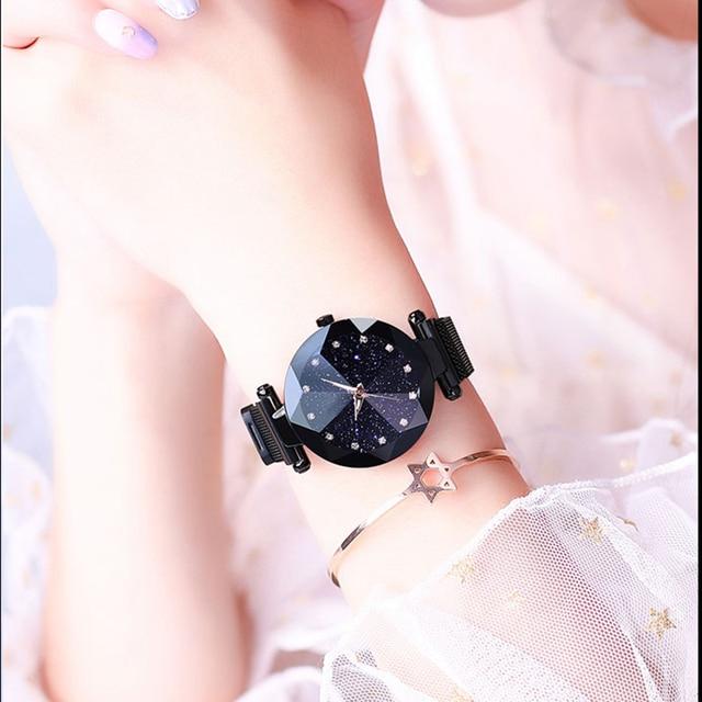 Maille d'acier inoxydable d'aimant de montre de dames de luxe avec la mode étoilée 3