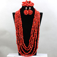 Latest 32 inches African Coral Party Necklace Jewelry Set Indian Statement Wedding Bride Bracelets Jewelry Free Shipping QW202
