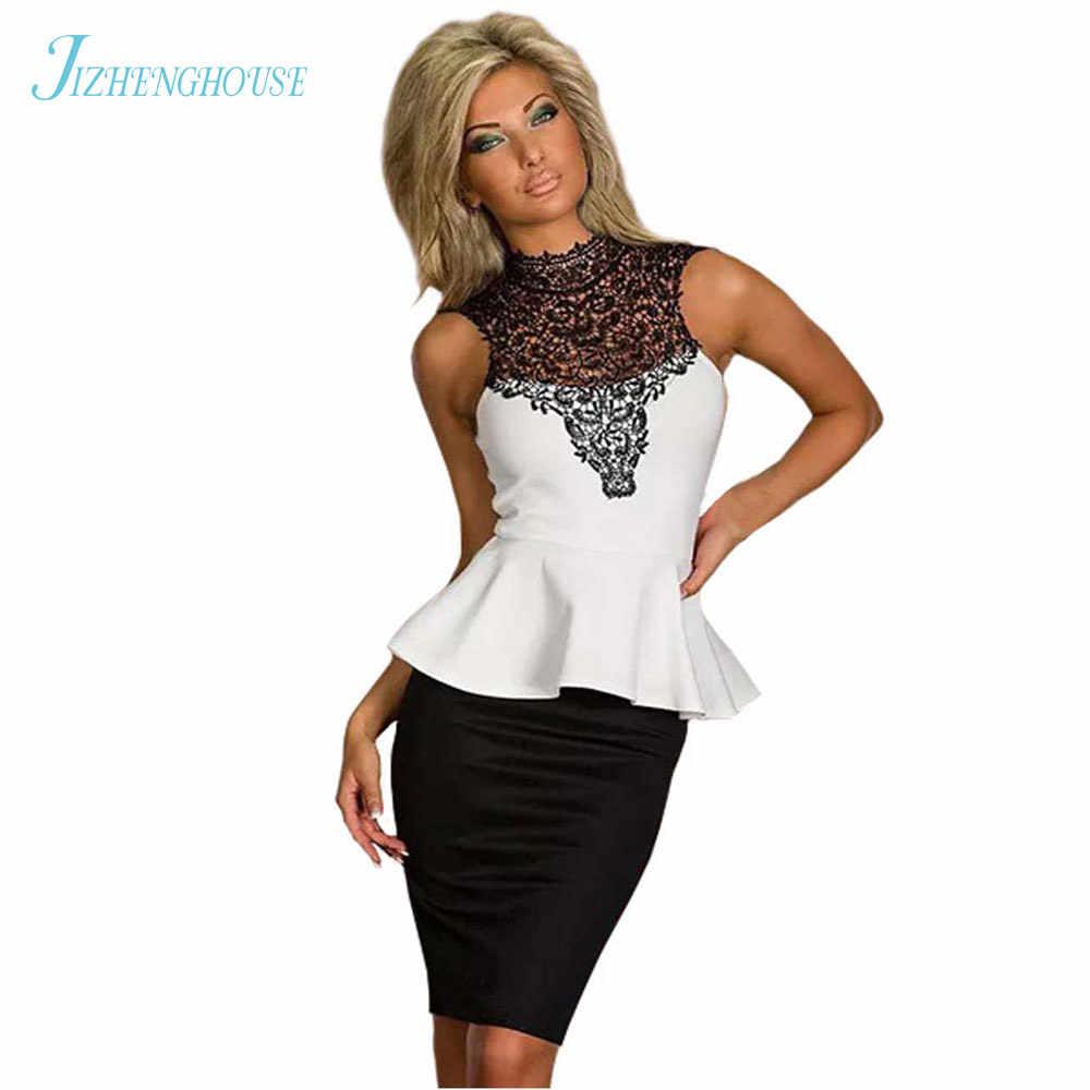 JIZHENGHOUSE New Women Fashion Sexy Hollow Out Peplum Dress Bodycon Vestido  Career Work Vestido Dresses e2bc4637669e