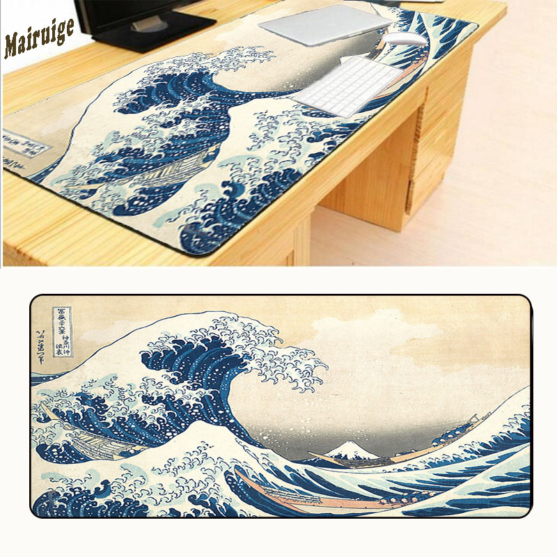 Mairuige Free Shipping 900*400*2mm Original Design Computer Speed Gaming The Waves Mouse Pad Rubber Gamer Soft Comfort Mouse Mat