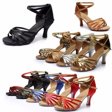 Women Girls Low Heels Professional Dancing Shoes Braided Strap Buckle for Ballroom Salsa Tango Latin Modern Dance