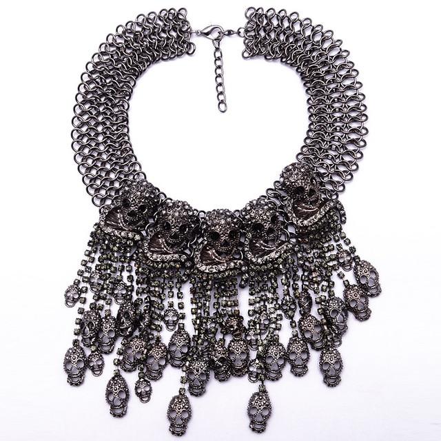 Купить 2018 огромное ожерелье с головой скелета короткая цепь женские