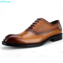 Brand 100% Genuine Leather Carved Men Formal Shoes High Quality Handmade Luxury Designers Office Dress Shoes Oxford