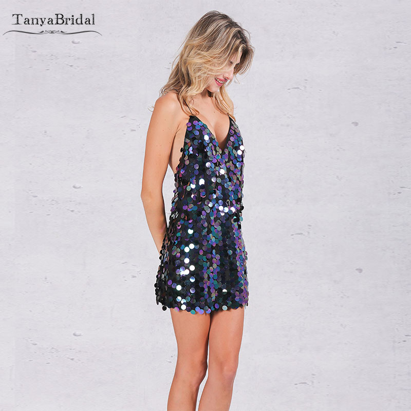 Sparkly Big Sequined   Cocktail     Dresses   V-Neck Short mini Party   Dresses   Girl's Club Wear Sexy Gown DHC001