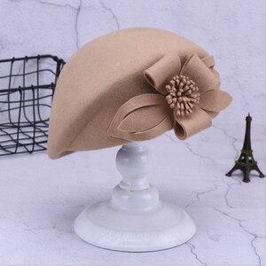 Image 3 - 2019新ウールベレー帽冬のベレー女性ファッション花女性フレンチエレガントなビーニーfedora帽子ビーニーautumu花