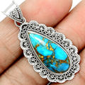 Hand made Genuine Blue Copper Turquoise Pendant, 100% 925 Sterling Silver, 46mm, 7g,  AP0053