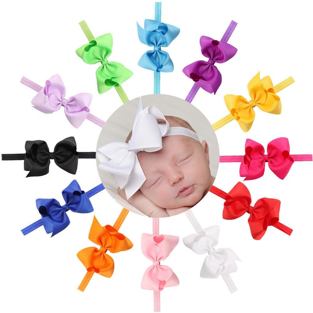 4.7 inch Hair Bow Baby Girl Bowknot Headband Grosgrain Ribbon Bow Headband Children Kids' Boutique   Headwear   Provide Wholesale